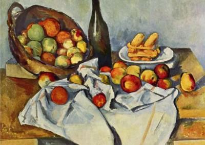 Naturaleza muerta con botella y cesta de manzanas (1894)