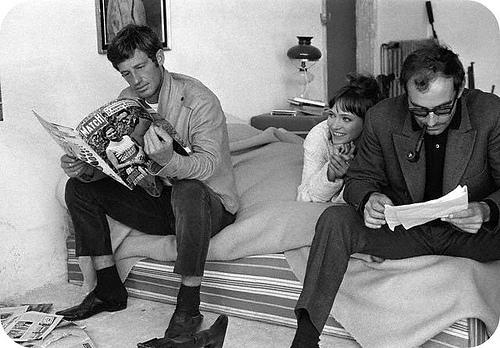 Anna Karina-Jean-Luc Godard y Jean Paul Belmondo