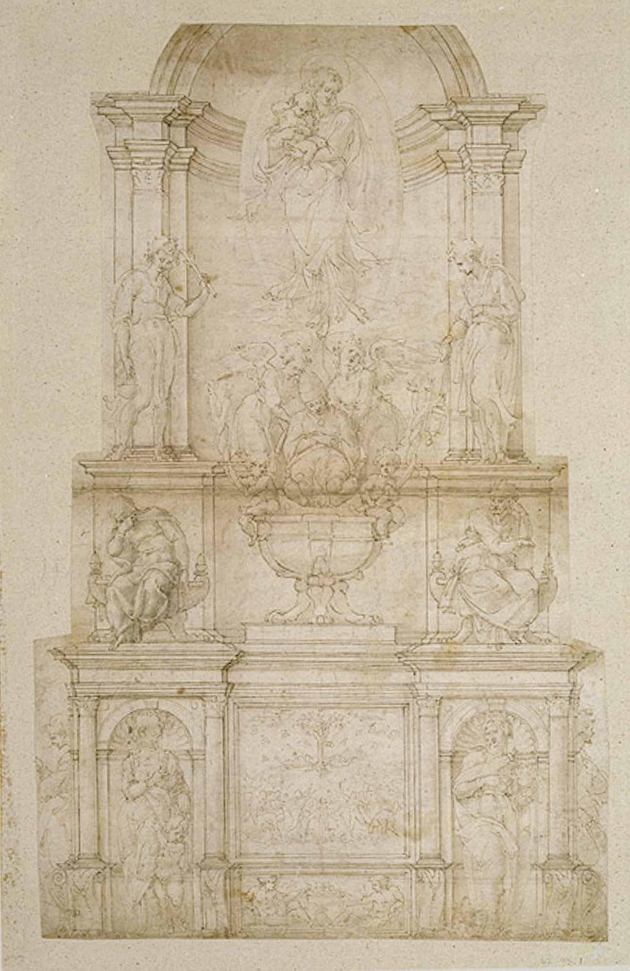 Estudio Tumba de Julio II, primera versión - Miguel Ángel