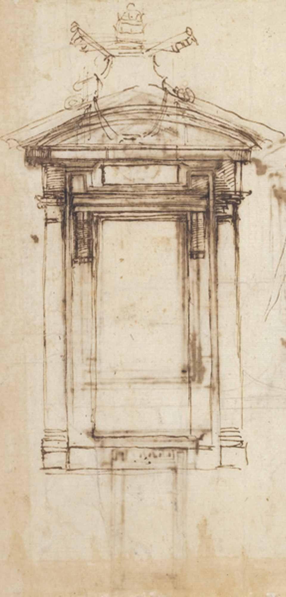 Estudio de ventana biblioteca Laurentiana - Miguel Ángel