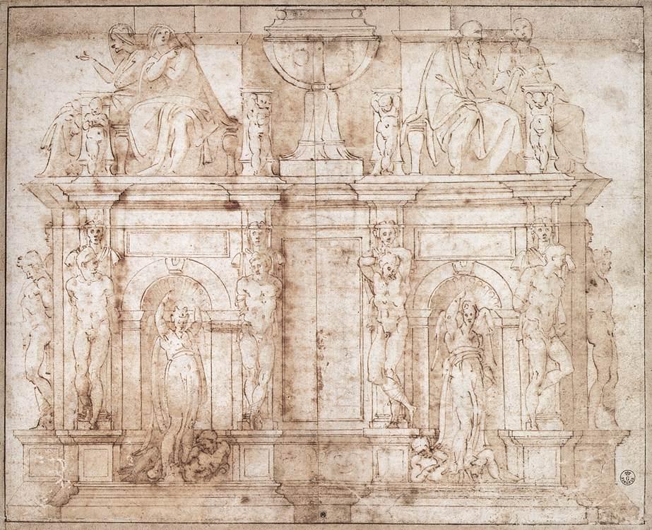 Estudio Tumba de Julio II, segunda versión - Miguel Ángel
