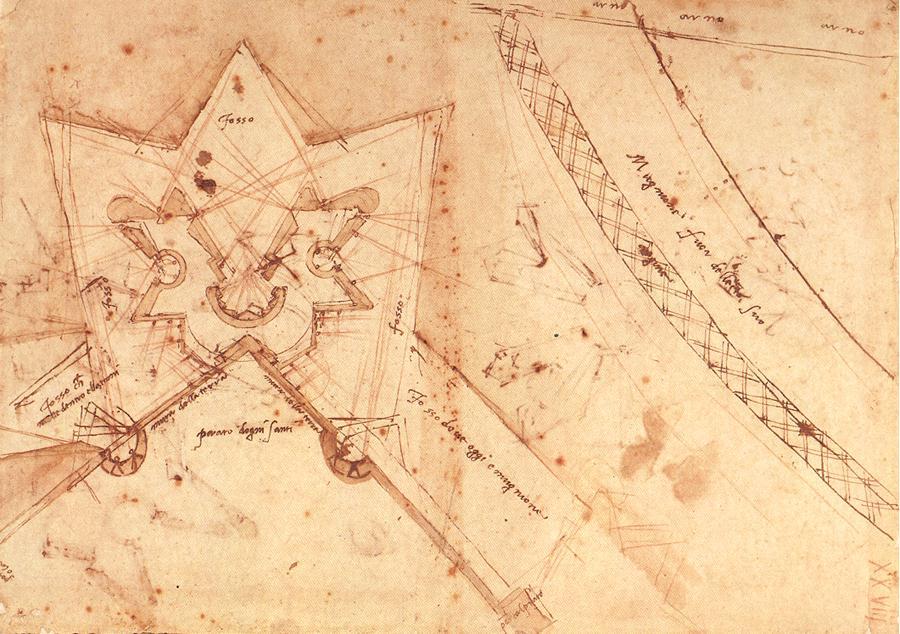 Croquis de las fortificaciones de la puerta del Prato en Florencia - Miguel Ángel